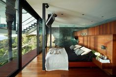 I would always wake up in this bed. #window #fullscreen #landscape #panorama #home #wood #interiordesign