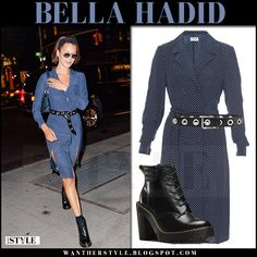 Bella Hadid in blue dot print shirt dress and black lace-up boots
