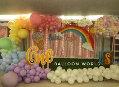 our version of clouds + rainbow + hotairballoon stage backdrop One Balloon, Hot Air Balloon, Balloons, Party Themes, Backdrops, Stage, Rainbow, Kids, Globes