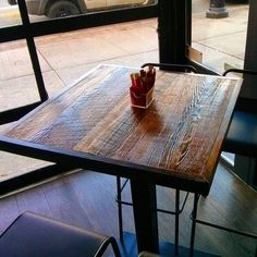 """Restaurant table top at Greektown restobar """"Logo"""". This shot shows the character, grain and saw marks on our 100 year old reclaimed barn board table tops. Nothing can replicate the patina of aged wood from yesteryear - glad it has a new lease on life."""