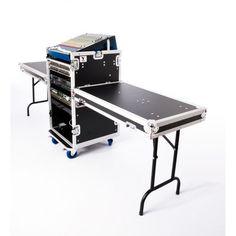 16u DJ Workstation Flight Case Rack with Side Tables