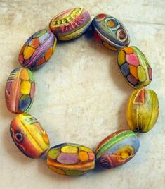 Barrel Beads | Textured and Carved Polymer Clay Beads-------… | Flickr Clay Design, Polymer Clay Projects, Fabric Ribbon, Polymer Clay Beads, Clay Tutorials, How To Make Beads, Jewelry Design, Jewelry Ideas, Diy Jewelry