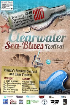 Clearwater Sea-Blues Festival Announces Line Up for Feb 18 &19, 2017. Local, Regional & International #Blues Favorites in Downtown Clearwater FL.