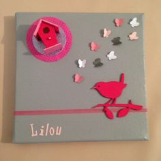 tableau/toile chambre enfant/bébé personnalisé rose et gris