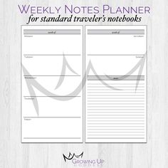Weekly Notes Planner -- {Standard Size} Printable Travelers Notebook Insert Booklet