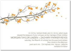 Fall Branch - Signature White Textured Wedding Invitations - Le Papier Boutique - Orange : Front