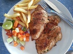 Grilled lemon and herb chicken with fries...