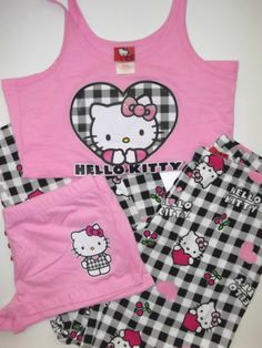hello kitty pajamas and like OMG! get some yourself some pawtastic adorable cat apparel! Casual Cosplay, Lazy Day Outfits, Cute Outfits, Hello Kitty House, Hello Kitty Clothes, Hello Kitty Themes, Pastel Outfit, Pajama Outfits, Cotton Sleepwear