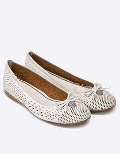 Balerini albi perforati din piele naturala Flats, Casual, Shoes, Fashion, Elegant, Loafers & Slip Ons, Moda, Shoes Outlet, Fashion Styles