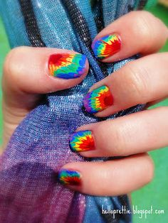 "helloprettie: ""tie dye"" nails."