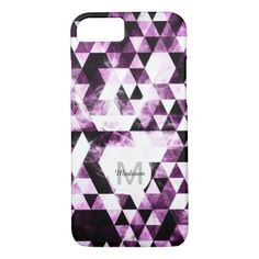 #monogrammed - #Triangle Geometric Pink Smoky Galaxy Monogram iPhone 7 Case