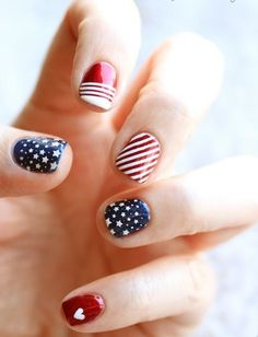 In case you have very short or brittle nails, you can go for a gel manicure. Short nails ought to be painted in such a manner they appear lengthy. Your glossy gel nails are prepared to flaunt. Fancy Nails, Pretty Nails, Nail Art Designs, Nail Design, Design Art, Hair And Nails, My Nails, Star Nails, American Flag Nails