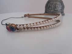 Antique french tiara  1900s rhinestone faux pearl & bronze