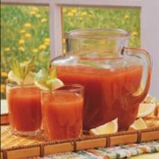 Six-Vegetable Juice smoothie: tomato, celery, carrots, peppers...