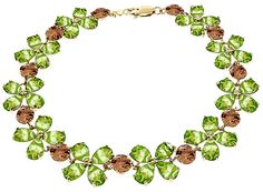 Peridot and Citrine Blossom Bracelet 20.7ctw in 9ct Gold: Setting width: 12 mm (0.5 in). Handcrafted in solid… #UKOnlineShopping #UKShopping