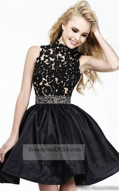 Little Black Lace High Neck Prom Dresses 2014