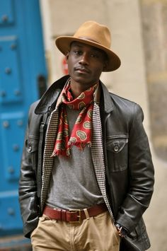 Mens Fall/Winter Street Style, Brown Leather Jacket, Herringbone Blazer, tshirt, and Scarf.