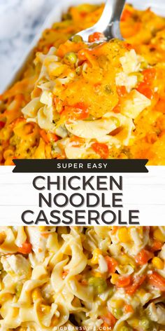 This super easy Chicken Noodle Casserole is chicken noodle soup in casserole form. This casserole made with chicken, vegetables and egg noodles is a classic southern casserole the you're going to love adding to the menu! Chicken And Egg Noodles, Chicken Noodle Casserole, Noodle Soup, Pre Cooked Chicken, How To Cook Chicken, Easy Casserole Recipes, Casserole Dishes, Best Dinner Recipes, Ground Beef Recipes