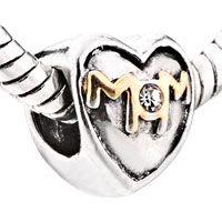 Pugster Heart Shaped I Love Mom Two Tone Plated Style Pandora Beads