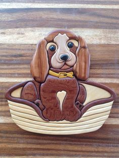 intarsia puppy free shipping by woodenmann on Etsy