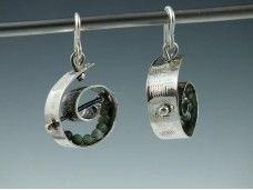 sterling silver spirals with moss agate beads