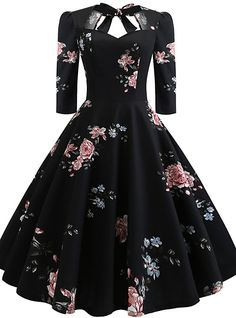 Floral Print Knot Dress - Outfits - Welcome Haar Design 50s Dresses, Pretty Dresses, Homecoming Dresses, Plus Size Dresses, Vintage Dresses, Dresses For Work, Formal Dresses, Maxi Dresses, Summer Dresses