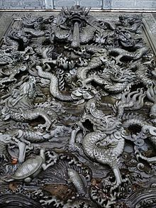 """Chinese dragons are mythical creatures in Chinese mythology and folklore. In Chinese art, dragons are typically portrayed as long, scaled, serpentine creatures with four legs. In yin and yang terminology, a dragon is yang and complements a yin fenghuang (""""Chinese phoenix"""")."""
