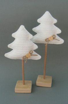 Arvore de Natal de renda ... Gehaakte kerstboompjes