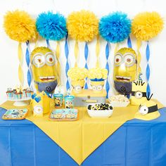 The proper shades of blue and yellow serve as the foundation of this D.I.Y. Despicable Me room decor. Table covers, crepe paper, fluffy tissue paper puff decorations, balloons and curling ribbon will make your guests feel like they stepped into the Minions movie!