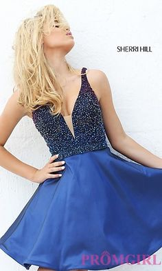 Short V-Neck Dress with Beaded Top at PromGirl.com