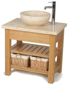 Travertine and Wood Wash Stand