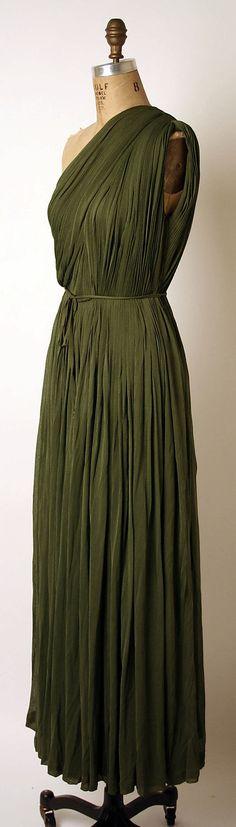 Evening dress Madame Grès (Alix Barton)  (French, Paris 1903–1993 Var region)  Date: ca. 1953 Culture: French Medium: (a) silk (b) rayon (c) [no medium specified]. Sideway