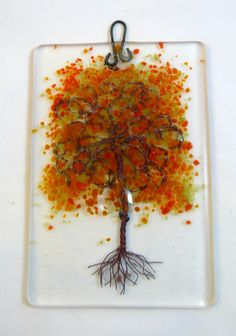 0cc2b0beb5c I just listed Fused Glass Autumn Colored Copper Tree Hanging Plaque by DLC  Glass Studio LLC