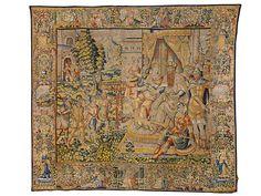 "350 x 383 cm. Rechts unten signiert ""PASQUIER DE NECKERE"". Links unten gemarkt ""BB"" für Brüssel. Brüssel, Anfang 17. Jahrhundert In der rechten..."