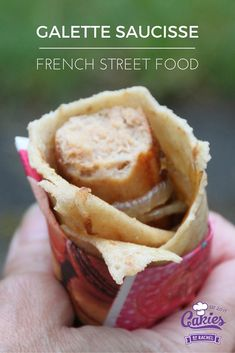 Galette Saucsisse is kind of like a French version of the hotdog. A delicious sausage wrapped in a crêpes. This is my version of the Galette Saucisse recipe Sausage Wrap, Hot Sausage, Crepes, Baking Recipes, Snack Recipes, Sweet Recipes, Good Food, Yummy Food, Delicious Recipes