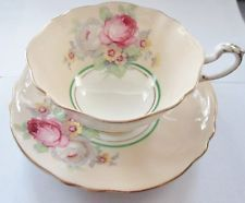 OLD PARAGON PINK ROSES YELLOW FLOWERS GOLD LEAF BONE CHINA CUP & SAUCER A1006/5