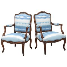 Pair of Bergères with Sky Blue Upholstery | 1stdibs.com