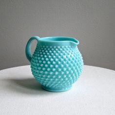 Vintage Fenton Hobnail Turquoise Blue Milk