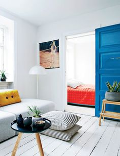 Sliding blue door.