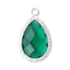 2 pcs Silver Plated Geometric Teardrop Charm by SmartParts on Etsy, $5.25 emerald green may birthstone