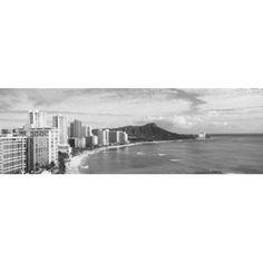 Buildings at the coastline with a volcanic mountain in the background Diamond Head Waikiki Oahu Honolulu Hawaii USA Canvas Art - Panoramic Images (36 x 12)