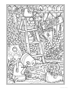 Cartoon Coloring Pages, Coloring Book Pages, Coloring Sheets, Garden Coloring Pages, Creative Haven Coloring Books, Spring Scene, Romantic Table, Life Is Too Short Quotes, Colorful Garden