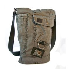 Recycled Cargo Pant Bucket Tote with Leather by uniquehandbags, $89.00