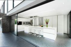 Architecture, Interesting Home Bar In White Contemporary Home: Stunning White Contemporary Home with Geometrical Architecture in England