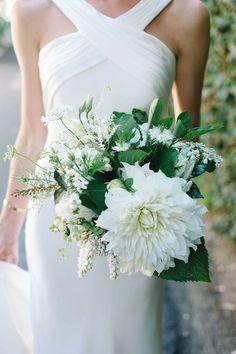 Summer wedding bouquet with dahlias by Isari Flower Studio + Event Design.