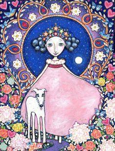 Prinzessin Kunstdruck Queen weiß Hund Windhund von LindyLonghurst