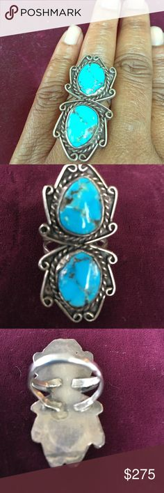 Old pawn  sterling silver and  turquoise ring No markings 925  turquoise some overall  antique condition Jewelry Rings
