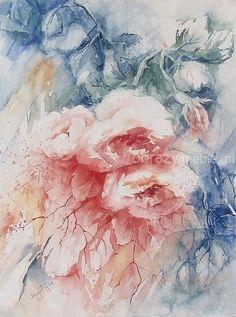 Róże. Pełna delikatnego wdzięku kompozycja kwiatowa w subtelnych barwach, świetnie zaprezentuje się w każdym wnętrzu. Praca wykonana techniką akwareli na papierze, bez oprawy.