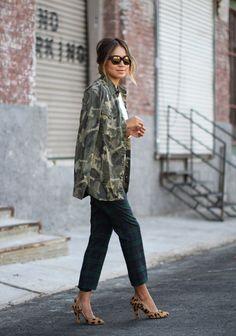 Camo jacket and leopard heels // street style (via @stylecaster)