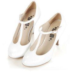 Retro white t-bar round toe leather heeled shoes